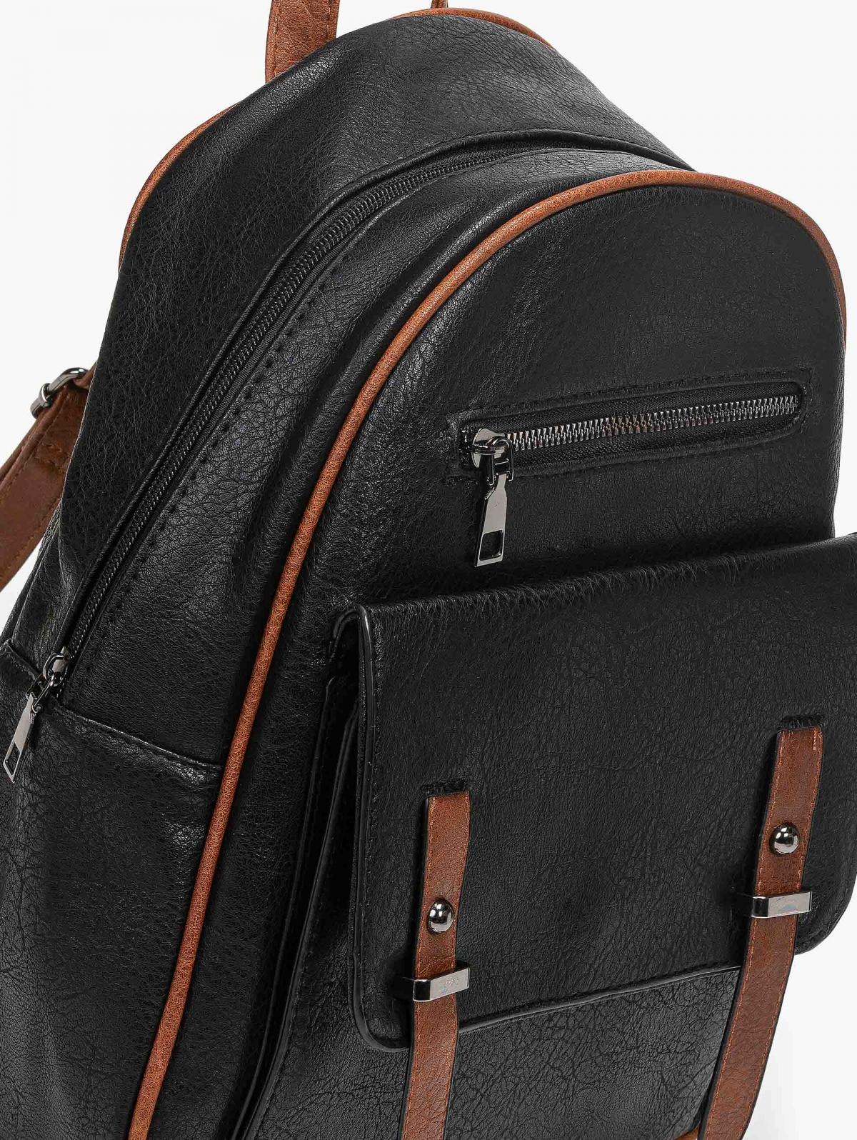 Backpack με εξωτερική θήκη και λουράκια - Μαύρο