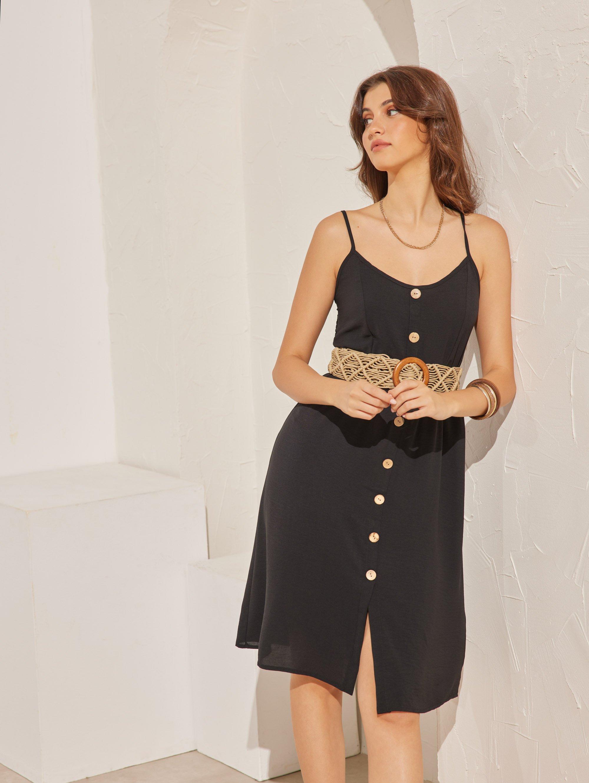 Basic midi φόρεμα με λεπτά ραντάκια - Μαύρο