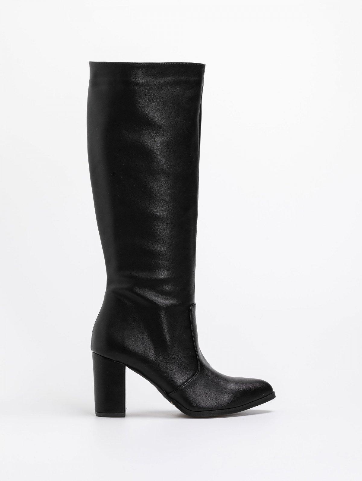 Basic μπότες με τακούνι - Μαύρο