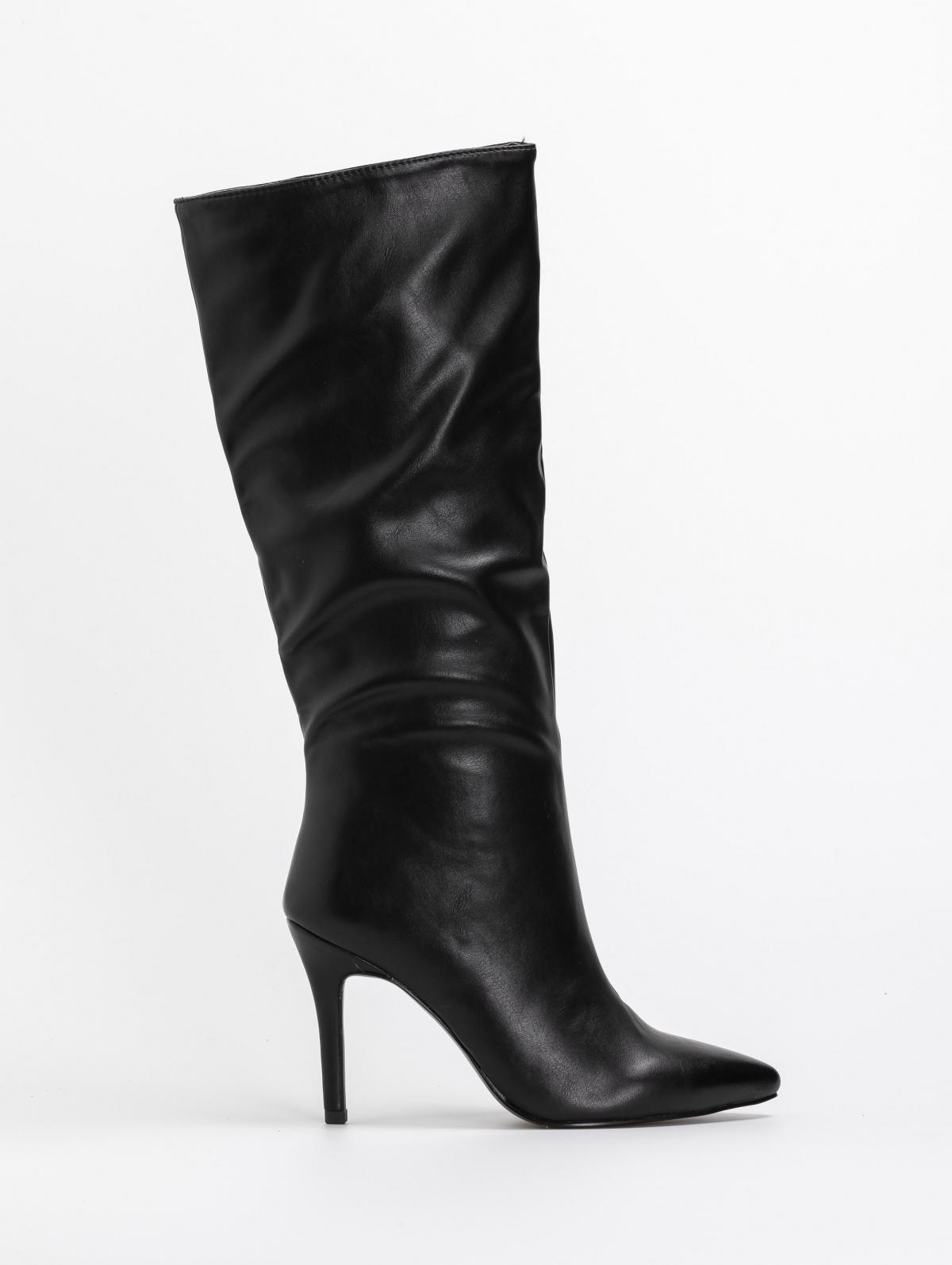 Basic μυτερές μπότες με λεπτό τακούνι - Μαύρο
