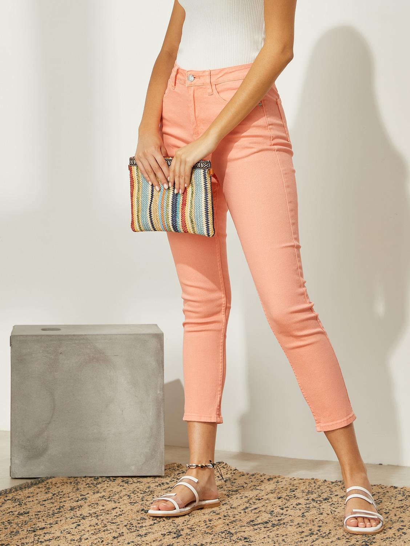 Basic ψηλόμεσο skinny παντελόνι - Ροδακινί