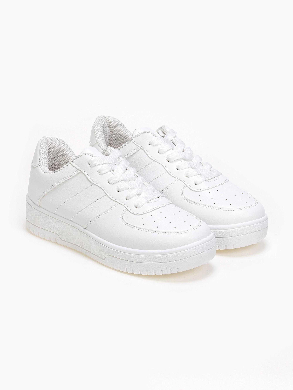 Basic sneakers με ραφές στο πλάι - Λευκό