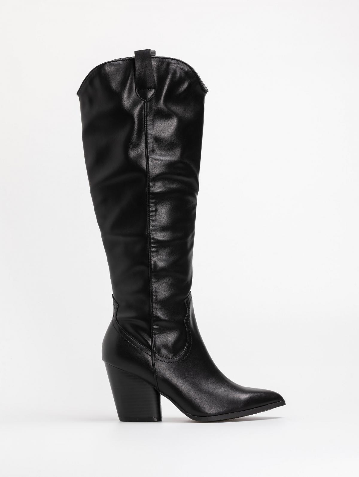 Basic western μπότες με τακούνι - Μαύρο