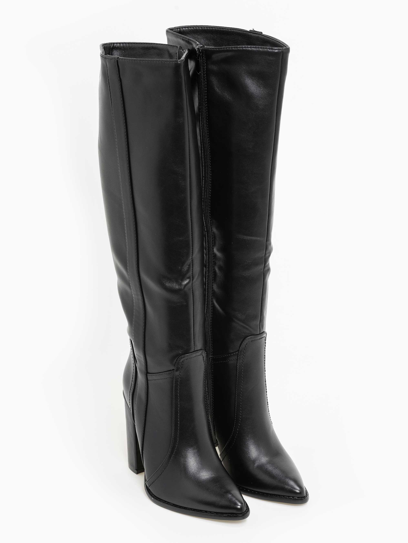 Block heel μπότες με ραφή στη σόλα - Μαύρο