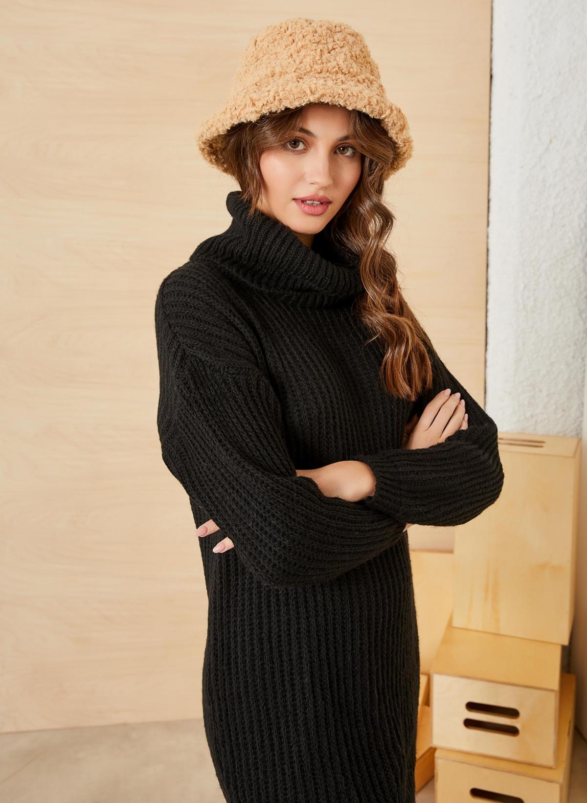Bucket καπέλο από οικολογικό sheepskin - Κάμελ