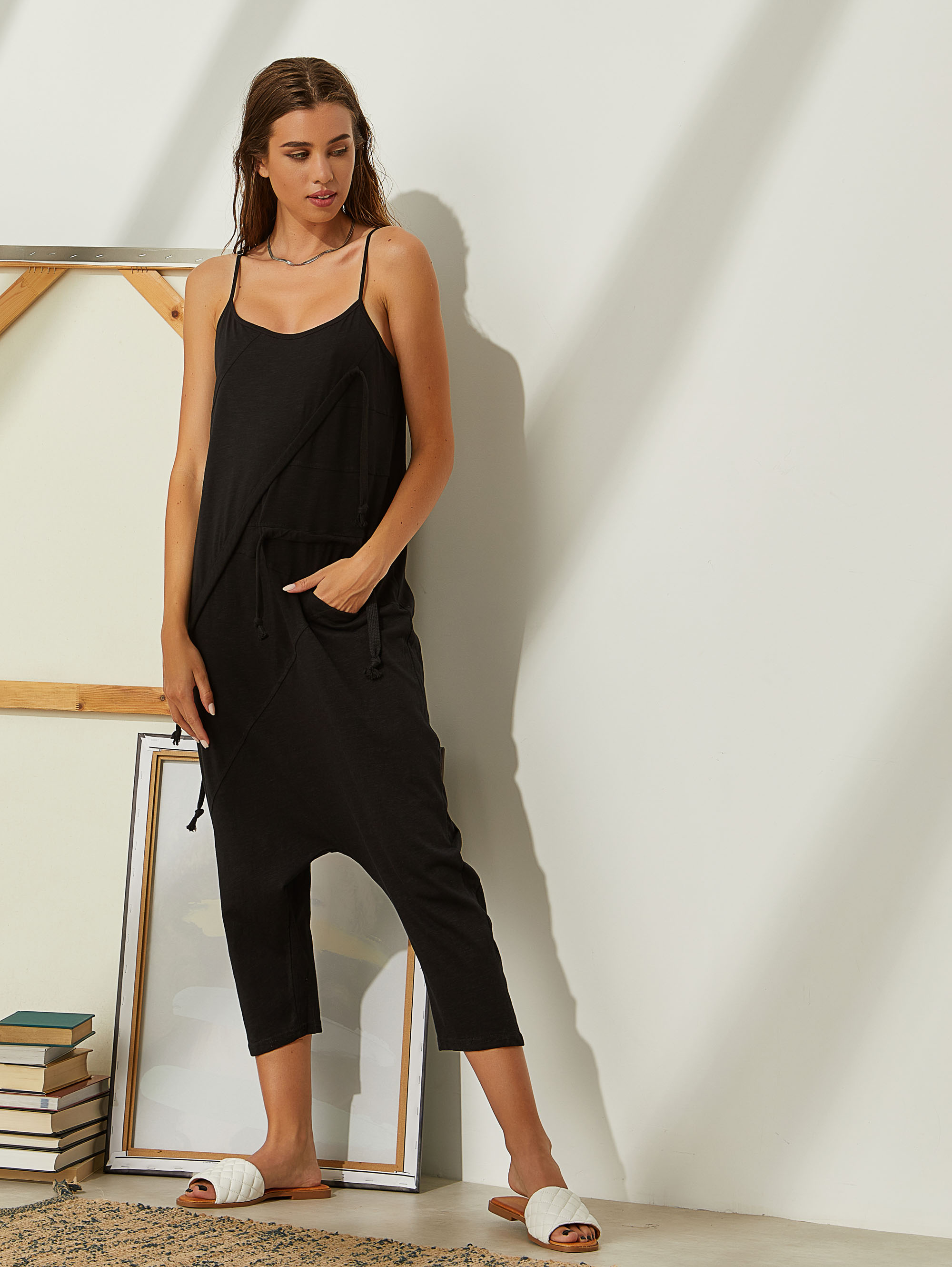 Cropped overall σε baggy γραμμή 77-077 - Μαύρο