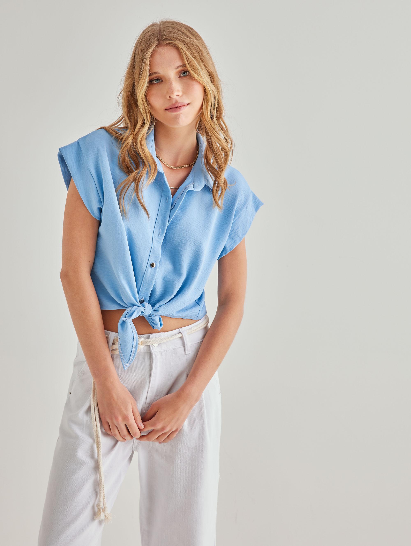 Cropped πουκάμισο με δέσιμο - Γαλάζιο