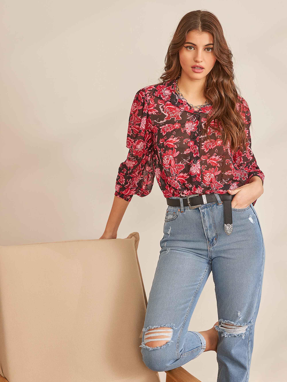 Διάφανο πουκάμισο με λουλούδια - Μαύρο/Κόκκινο - The Fashion Project -