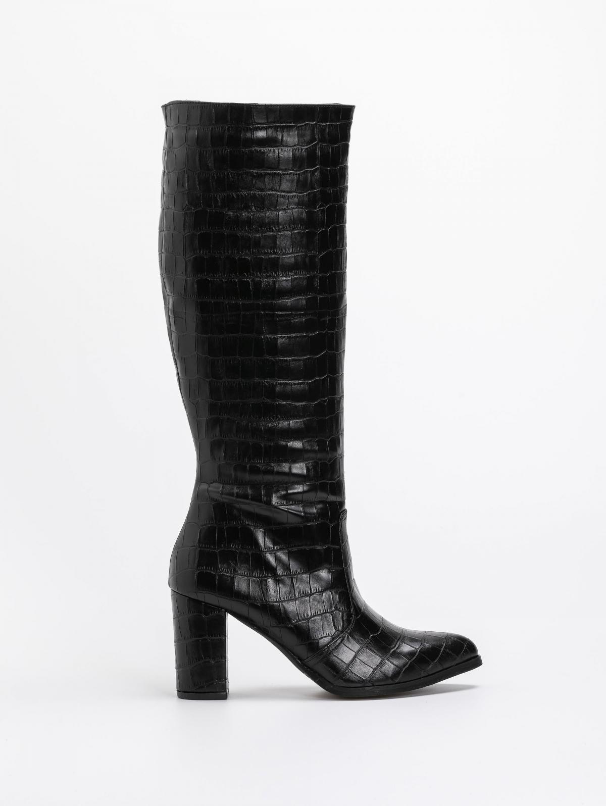 Estil μπότες με pattern κροκό - Μαύρο