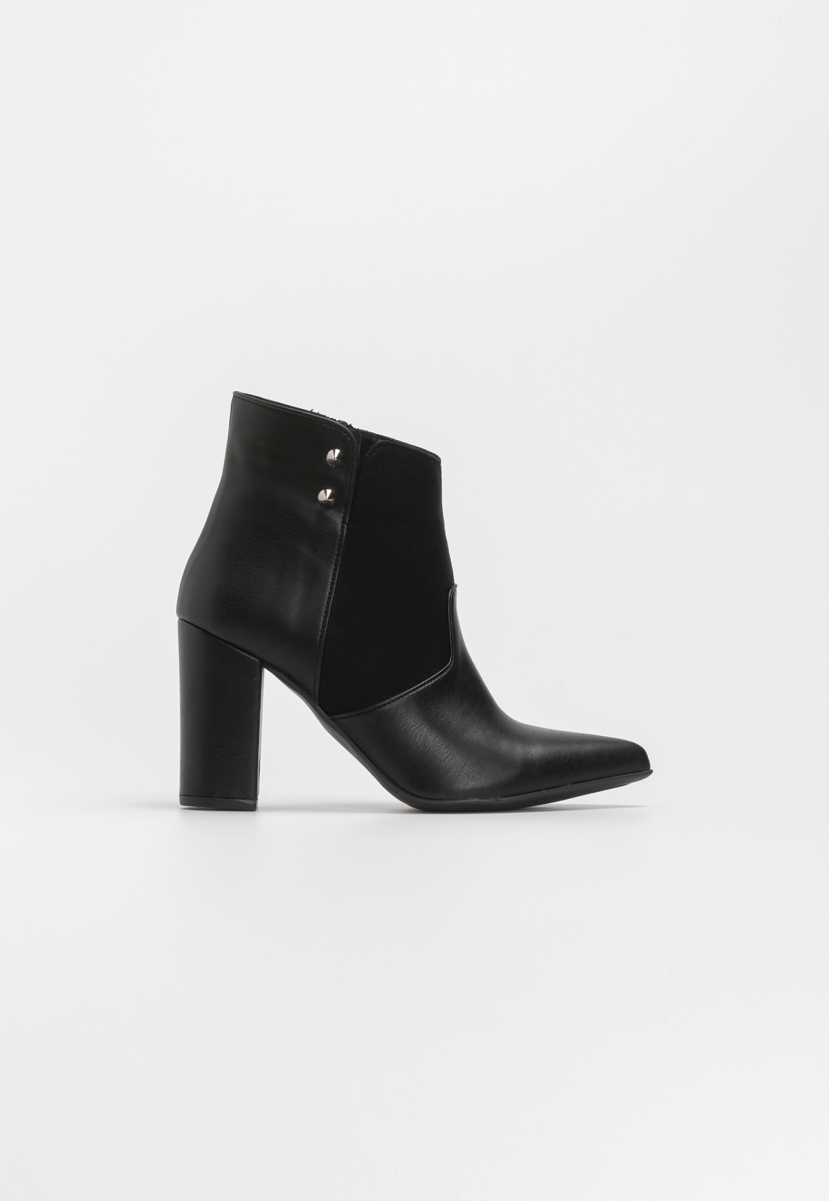 Estil μυτερά ankle boots με καρφιά - Μαύρο