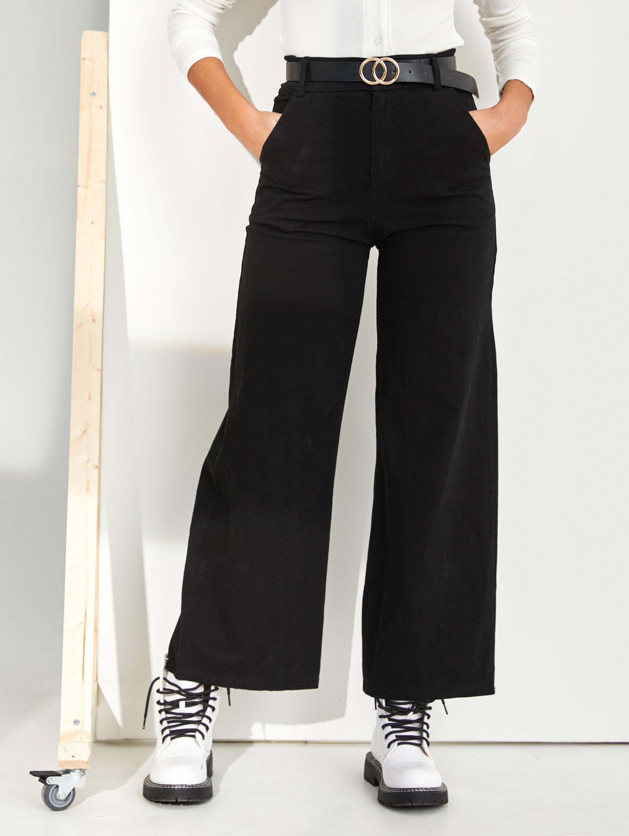 Flare ψηλόμεσο παντελόνι με ζώνη - Μαύρο