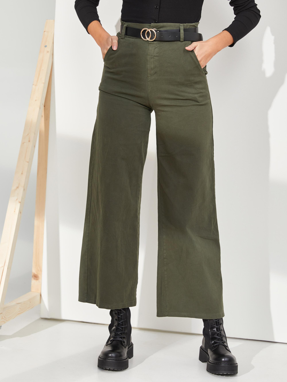 Flare ψηλόμεσο παντελόνι με ζώνη - Χακί