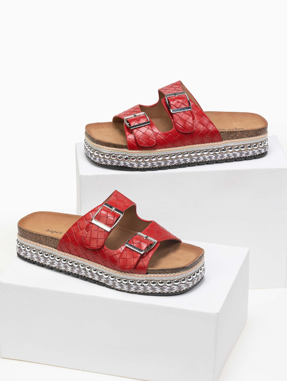 Flatforms με διπλό ζωνάκι - Κόκκινο