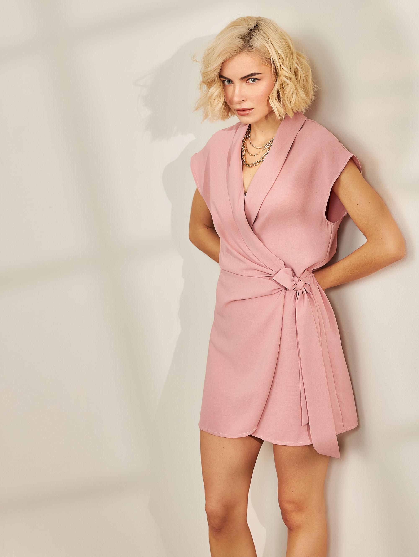 Φόρεμα κρουαζέ με πέτο - Σάπιο μήλο