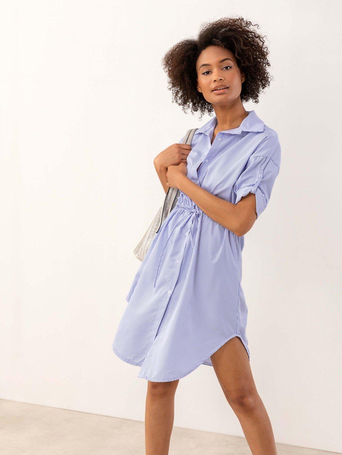 56d3067bddc Φόρεμα πουκάμισο σεμιζιέ με ρίγες - Γαλάζιο