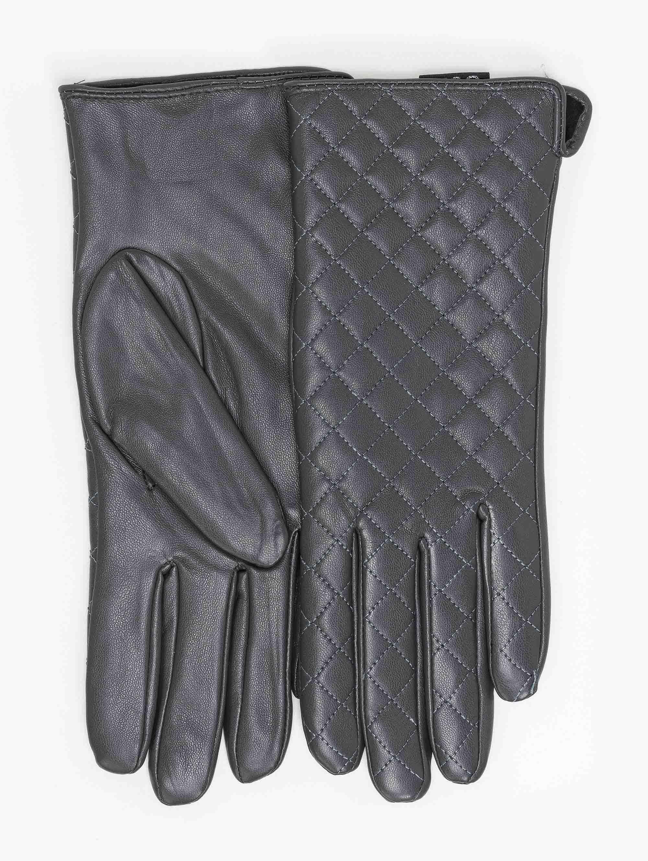 Γάντια δερματίνη με καπιτονέ σχέδιο - Γκρι