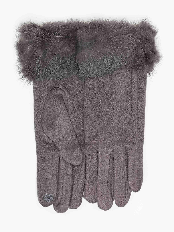 Γάντια fleece με γούνινη λεπτομέρεια - Γκρι