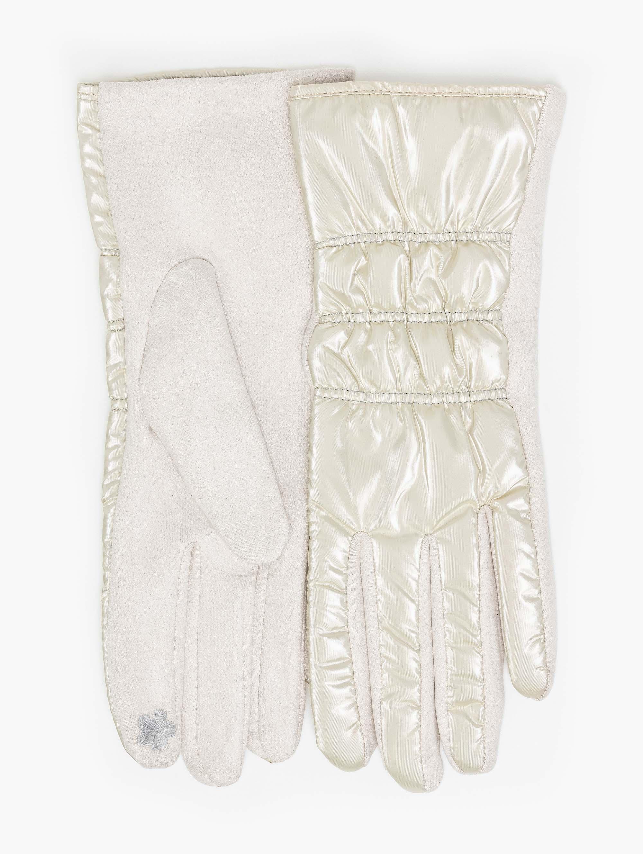 Γάντια καπιτονέ από ανακλαστικό ύφασμα - Μπεζ