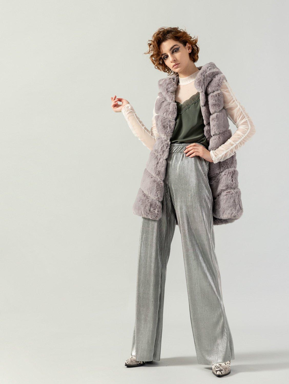 Γκοφρέ παντελόνα με λάστιχο στη μέση 36-001A - Ασημί