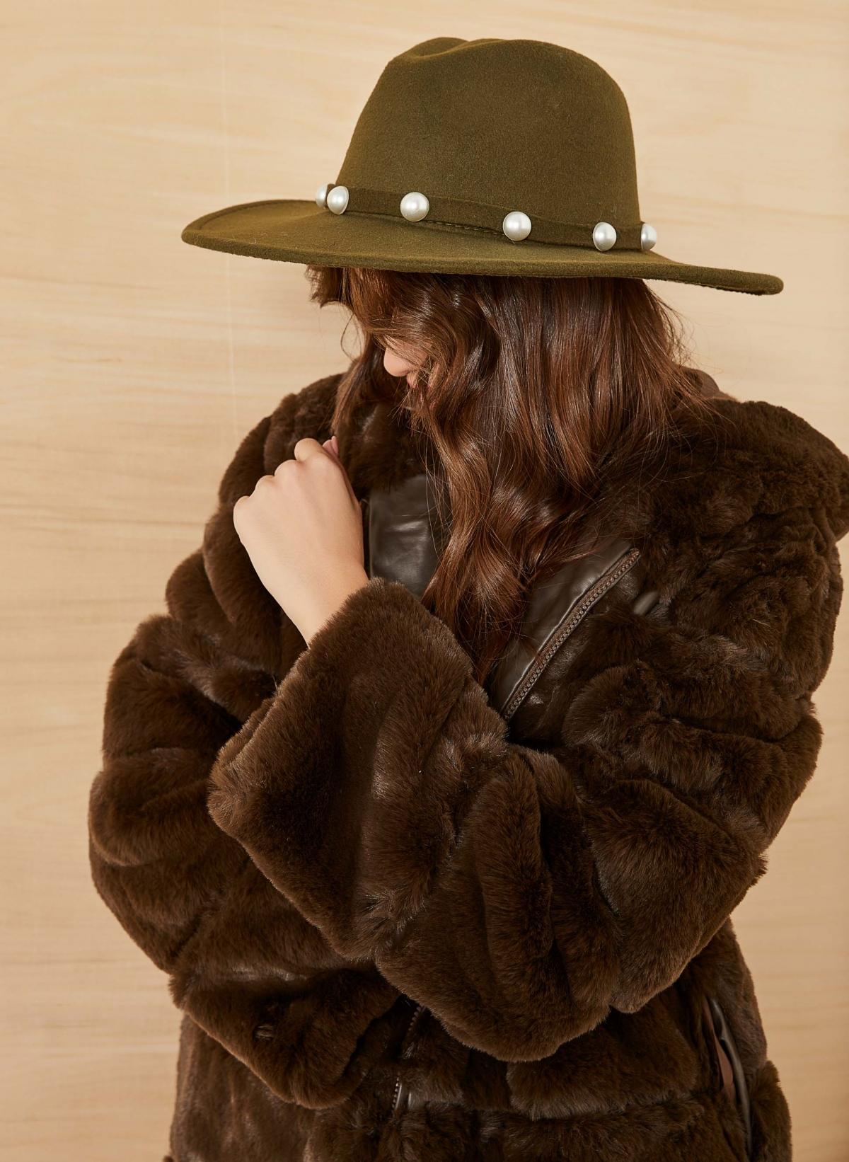 Καπέλο φεντόρα με πέρλες - Χακί