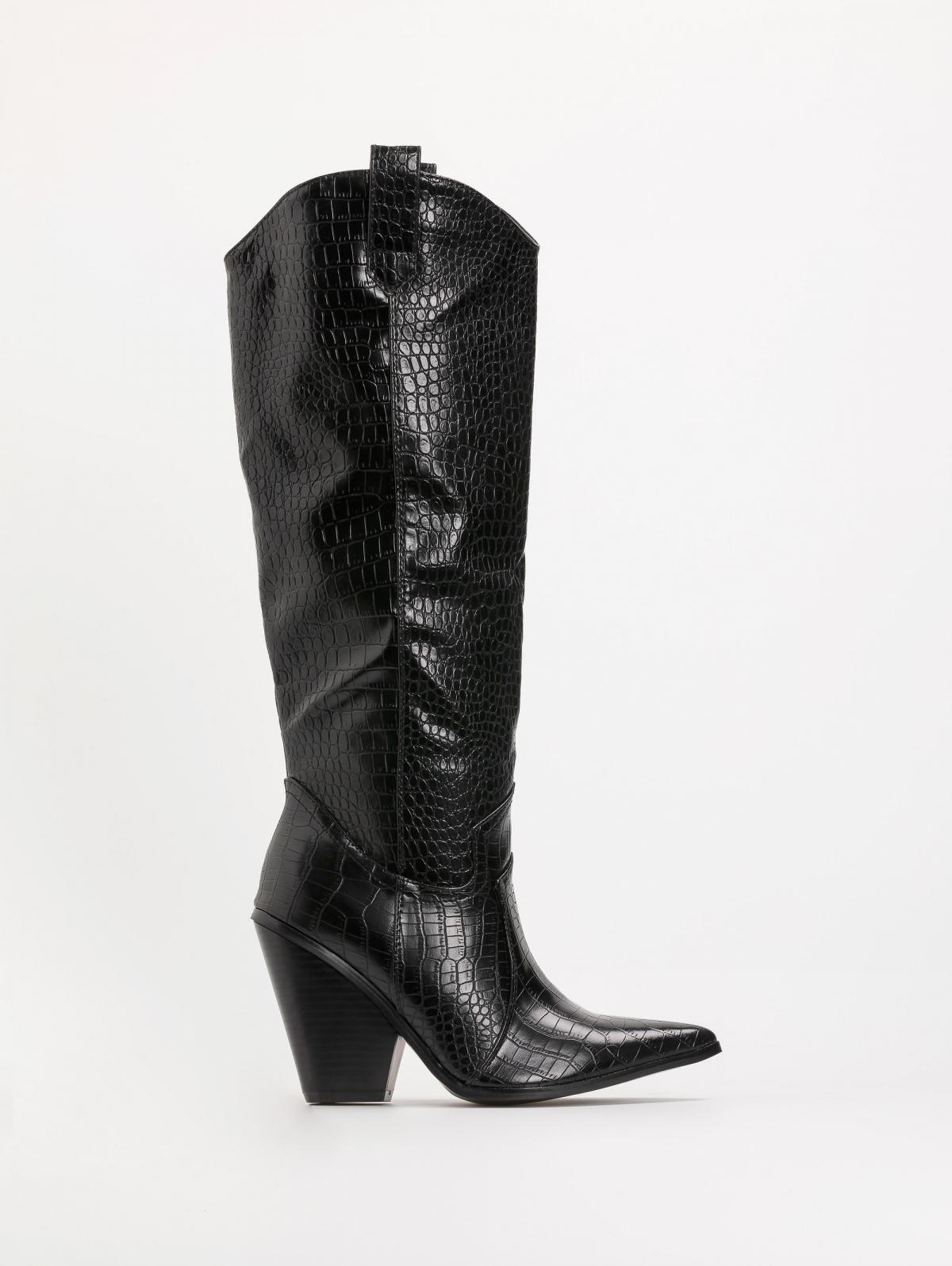 Κροκό μπότες με καουμπόικο τακούνι - Μαύρο