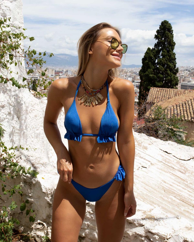 Μαγιό μεταλιζέ bikini με μικρά βολάν - Μπλε