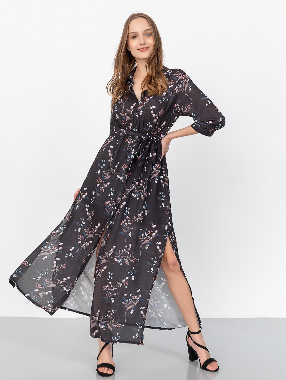 Maxi floral φόρεμα με κουμπιά 47-120A - Μαύρο