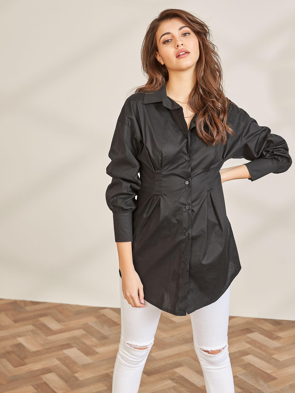 Μεσάτο πουκάμισο με φαρδιά μανσέτα - Μαύρο