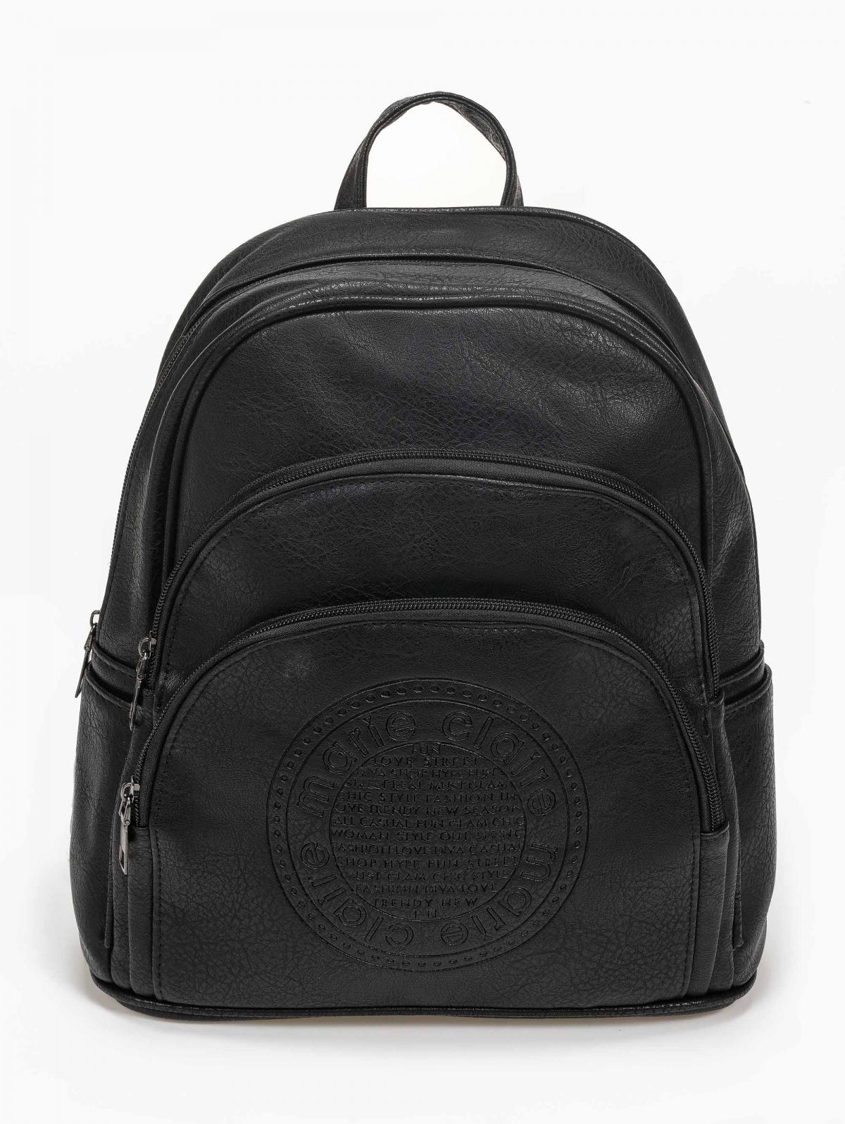 Μικρή τσάντα πλάτης με ανάγλυφη στάμπα - Μαύρο