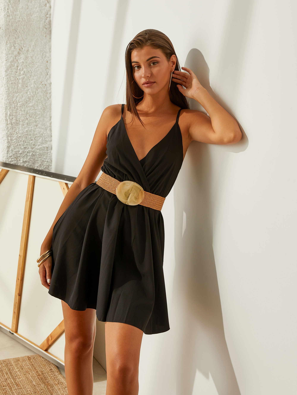 Mini σατέν κρουαζέ φόρεμα - Μαύρο
