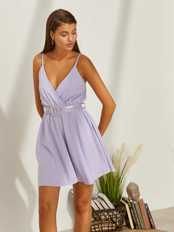Mini σατέν κρουαζέ φόρεμα - Λιλά