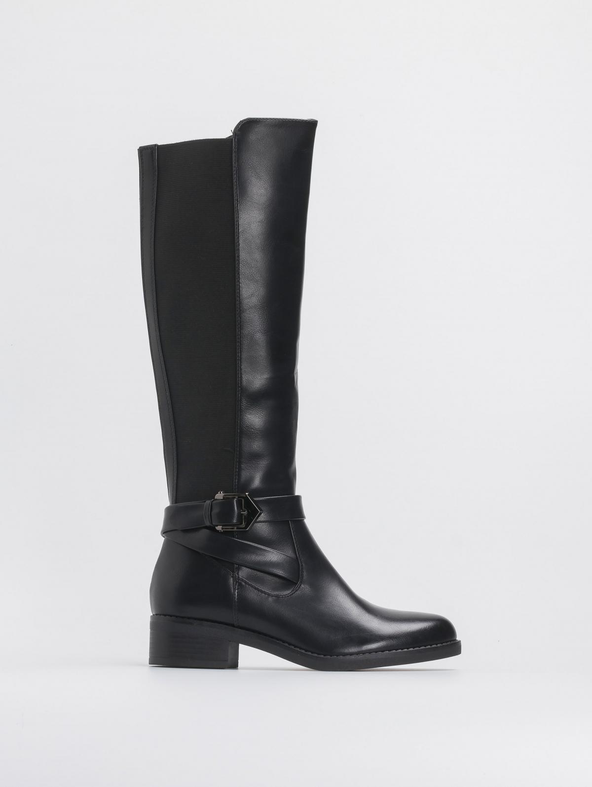 Μπότες τύπου ιππασίας με χιαστί ζωνάκι - Μαύρο