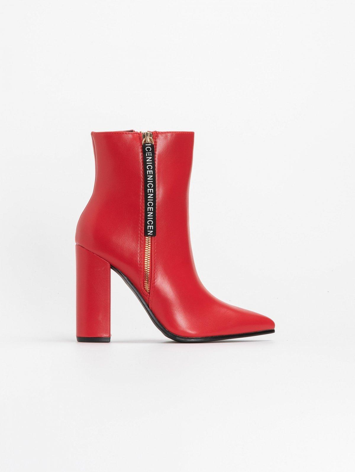 Μυτερά block heel μποτάκια με διακοσμητικό - Κόκκινο