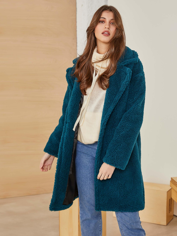 Οικολογικό sheepskin παλτό με διπλό κουμπί - Petrol