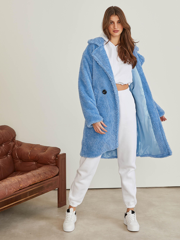 Οικολογικό sheepskin παλτό με διπλό κουμπί - Γαλάζιο