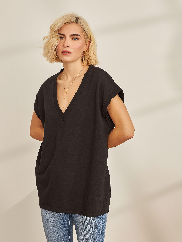 Oversize φούτερ φόρεμα με V - Μαύρο