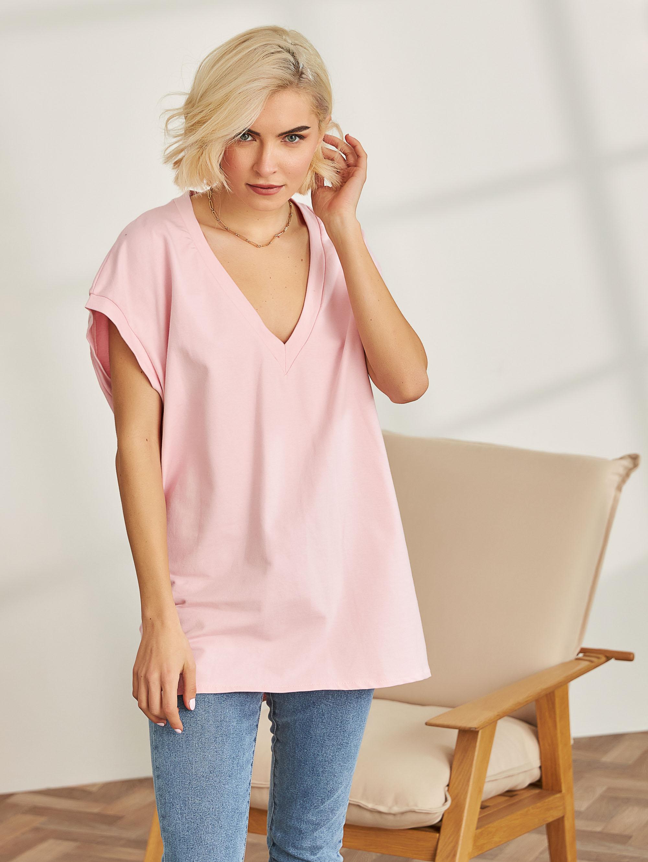 Oversize φούτερ φόρεμα με V - Ροζ