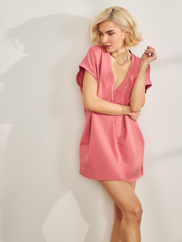 Oversize φούτερ φόρεμα με V - Ροδί