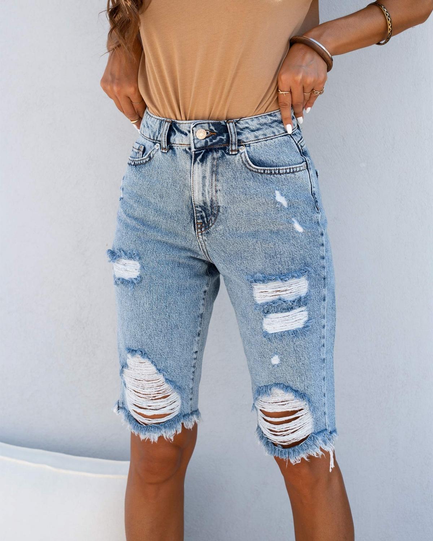 Ψηλόμεση τζιν βερμούδα με σκισίματα - Μπλε jean