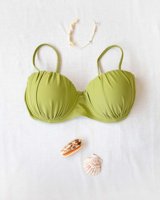 Push up bikini top με σούρες - Λαδί