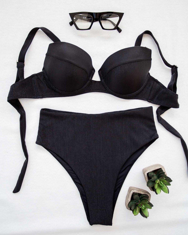 Push up corset bikini με μεταλλική κλωστή - Μαύρο