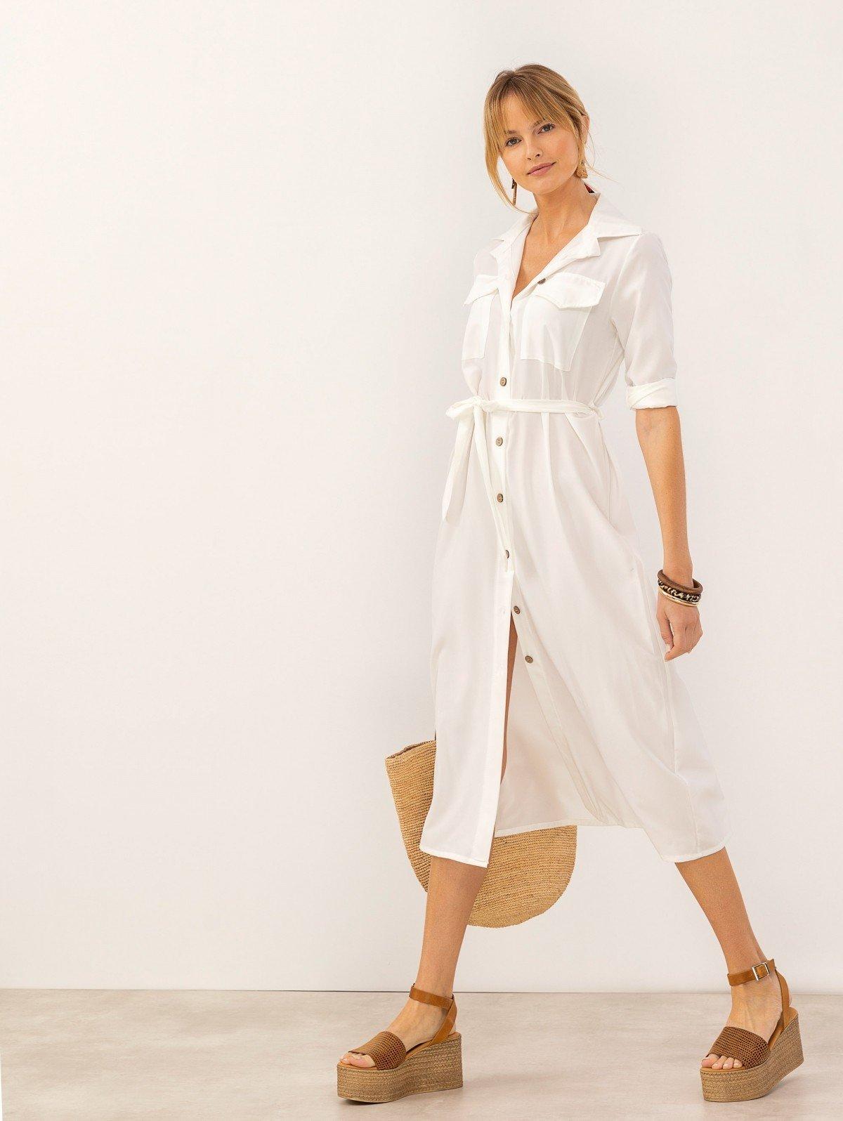 0cafabe0407 Σεμιζιέ φόρεμα με τσεπάκια - Λευκό