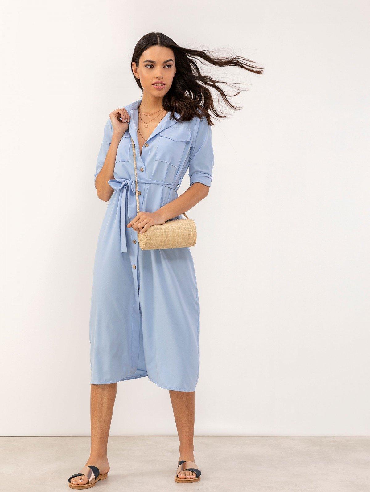 351508123172 TheFashionProject Σεμιζιέ φόρεμα με τσεπάκια - Γαλάζιο