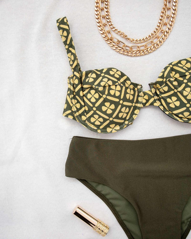 Σετ bikini με διχρωμία και μπανέλα - Κυπαρισσί
