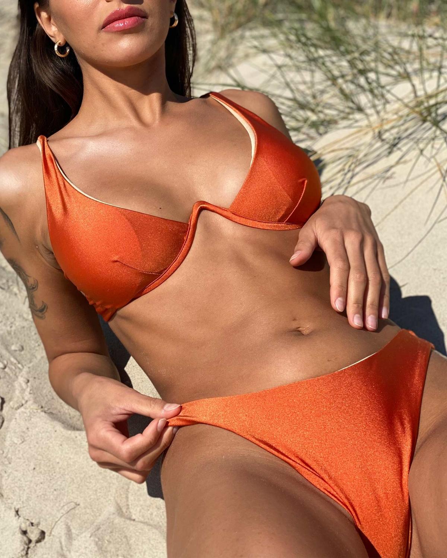Σετ bikini με μπανέλα - Πορτοκαλί