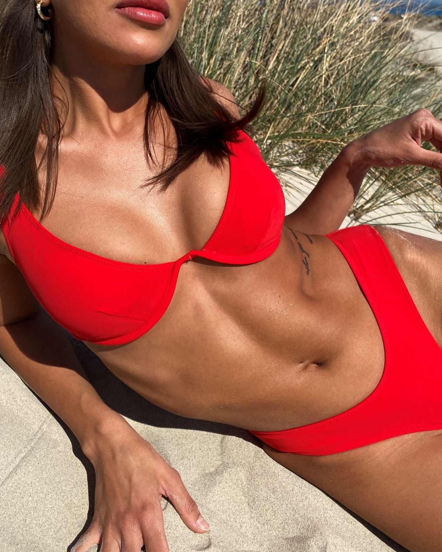 Σετ brazilian bikini με μπανέλα - Κόκκινο