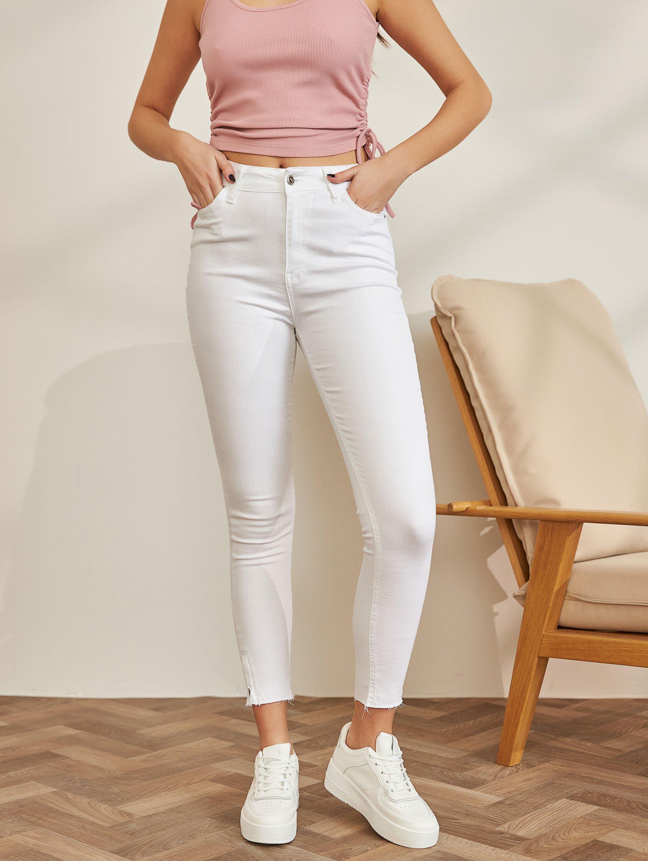 Skinny ψηλόμεσο τζιν με φερμουάρ - Λευκό