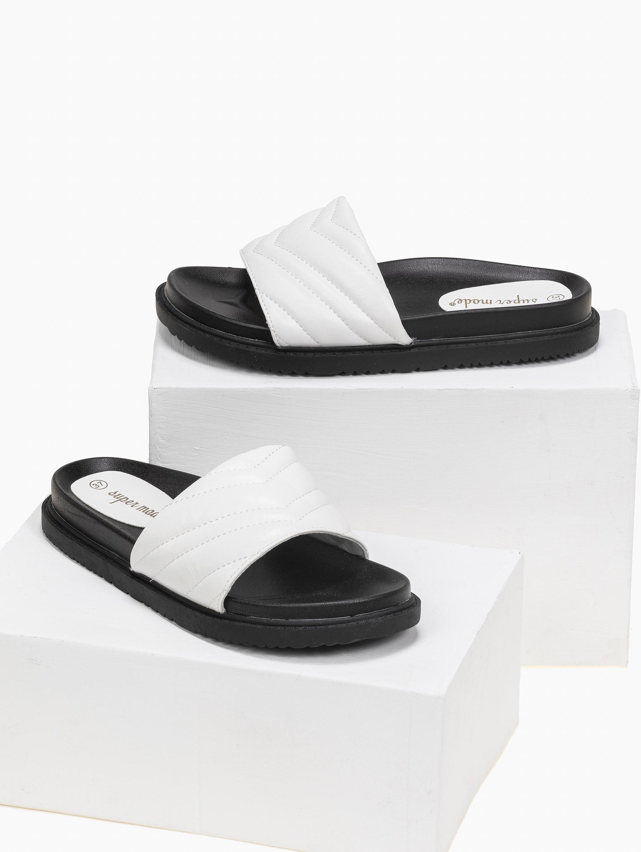 Slides με καπτονέ σχέδιο - Λευκό
