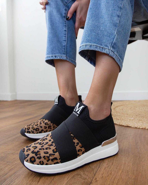Slip on sneakers με φάσες χιαστί - Leopard