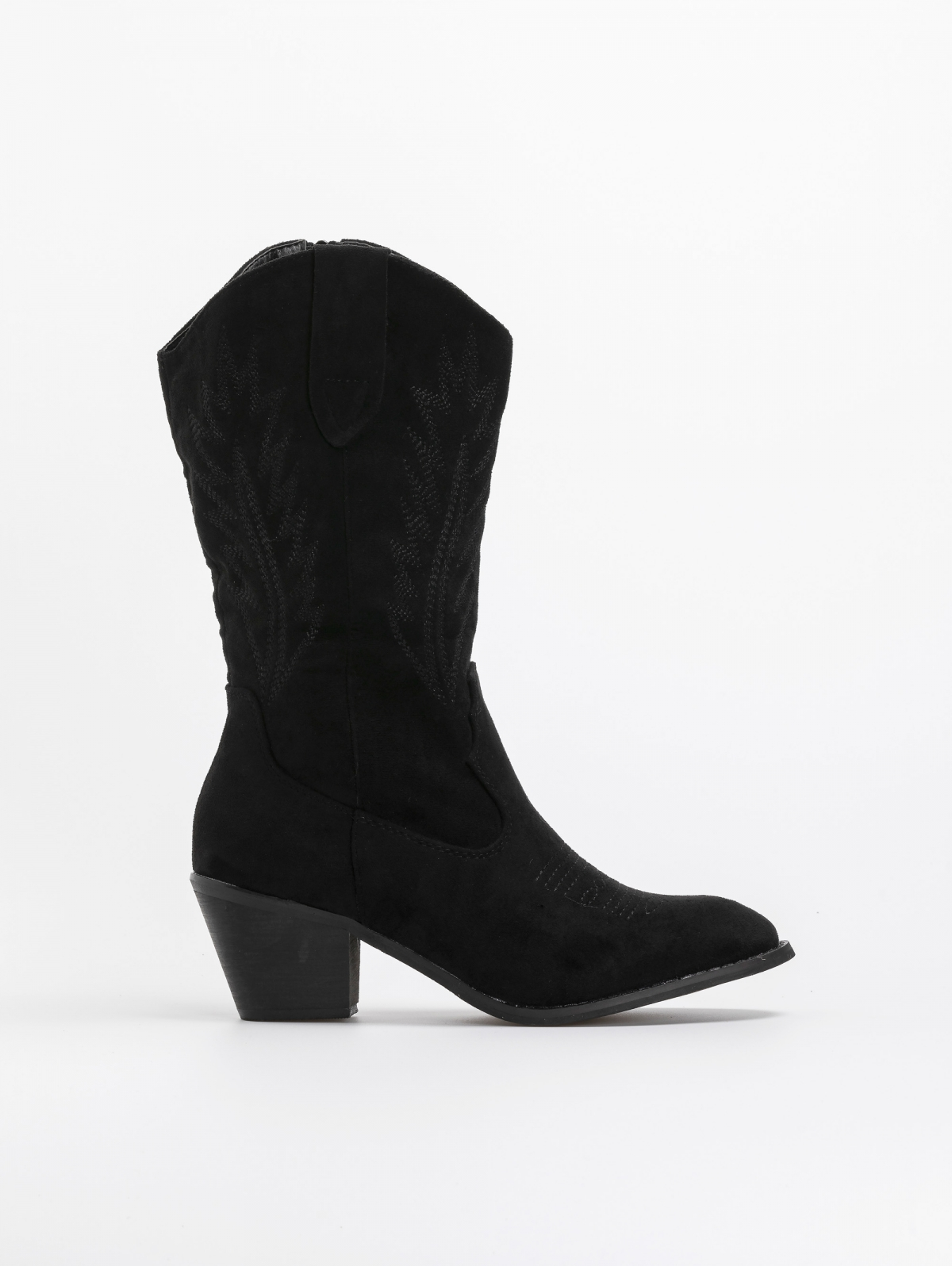 Suede western μπότες με ξύλινο τακούνι - Μαύρο